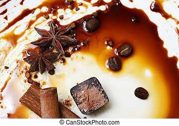 Chocolate candy isolated with anice and cinnamon