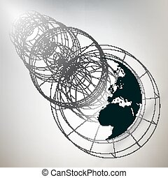 Three-dimensional dotted world globe with abstract construction on gray background, vector illustration