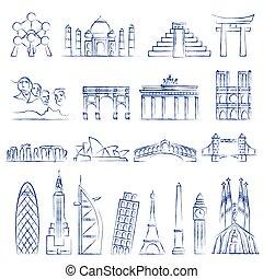 World landmarks outline icons