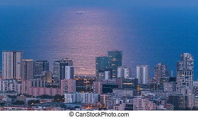 View of Barcelona skyline timelapse, the Mediterranean sea...