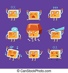 Little Robot Emoji Set - Little Robot Emoji Flat Vector...