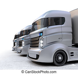 Hybrid electric trucks on white - Hybrid electric trucks...