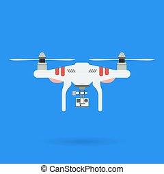 Quadrocopter and Camera - Quadrocopter and camera on blue...