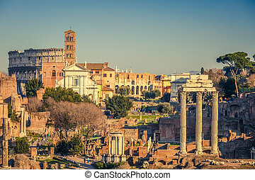 Forum romanum at sunset - View on forum romanum in Rome,...
