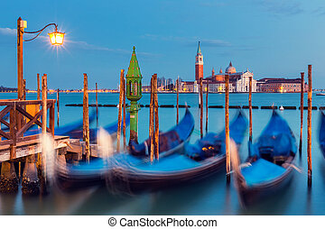 Gondolas in Venice at night