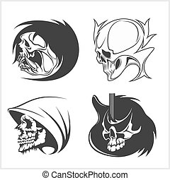 Set of skulls. Vector illustration.