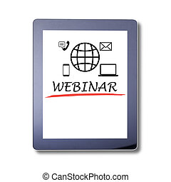Webinar word on Tablet, isolated Invitation to webinar is...