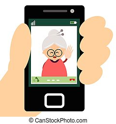 Grandmother making a video call - Illustration of...