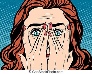 Frightened shocked girl pop art retro style. The face of a...