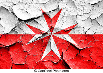 Malta knights flag symbol with cracks and grunge design