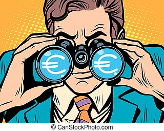 Monitoring the currency Euro exchange rate pop art retro...