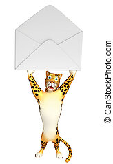 fun Leopard cartoon character - 3d rendered illustration of...