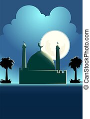 Mosque - Illustrations of domes, stars and moon with sky...