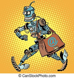 Automatic mailing of the robot pop art retro style. business...