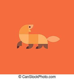 Mongoose geometric animal logo vector illustration of flat...