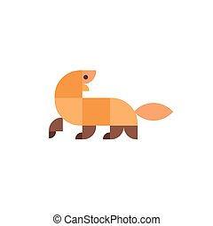 Geometric animal in flat design illustration logo mammal...