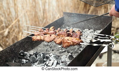 Fried meat on a skewer