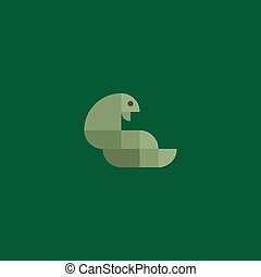 Green snake cobra minimalism of squares geometrically flat style design high-quality logo illustrations
