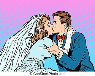 The bride and groom kiss pop art retro style Man and woman...