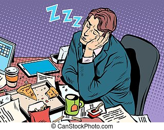 Man businessman sleeping on the job pop art retro style....