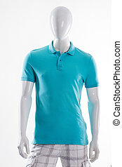 Blue polo t-shirt on mannequin.