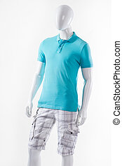 Male mannequin wearing summer clothes.