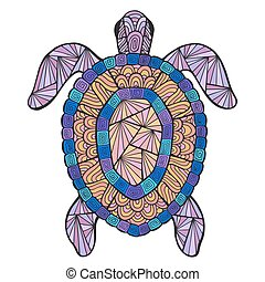 Vector stylized turtle with ethnic pattern. - Stylized...