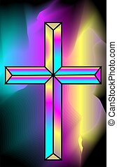 Cross symbol - Illustration of a cross in colourful...