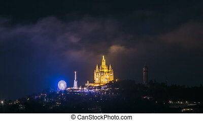 Temple of the Sacred Heart of Jesus timelapse on Tibidabo...