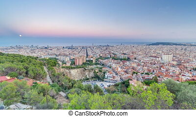 View of Barcelona day to night timelapse, the Mediterranean...