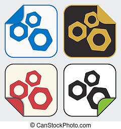four square sticky icons - nuts - set of four colored...