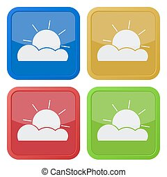 set of four square icons with partly cloudy - set of four...