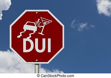 Stop Drinking and Driving Road Sign, Red and White Stop Sign...