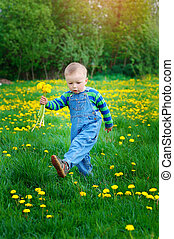little boy with a bouquet of yellow flowers walks in the spring meadow