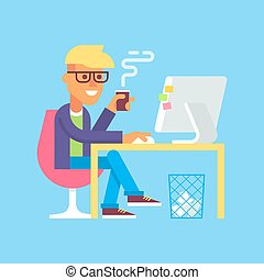 Man is working with computer and drinking coffee.