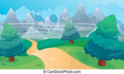 Fir Forest Background With Road - Vector cartoon game...