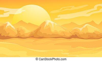 Yellow Sunset Desert Landscape