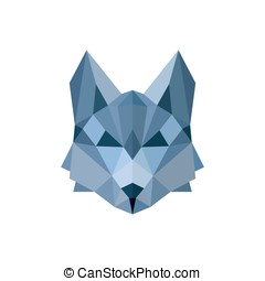 Wolf pack Leader in the color blue faceted Polygon for...
