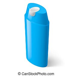 Shampoo Icon - Single Blue Isometric Bottle of Shampoo on...