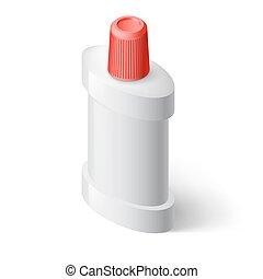 Mouthwash - Single Isometric Bottle of Mouthwash on White