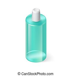 Shampoo Icon - Single Aquamarin Bottle of Shampoo on White