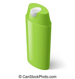 Shampoo Icon - Single Green Isometric Bottle of Shampoo on...