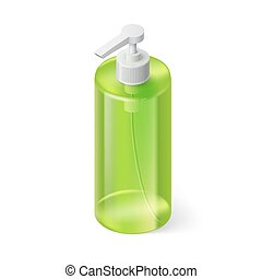 Shampoo Icon - Single Green Bottle of Shampoo in Isometric...