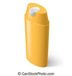 Shampoo Icon - Single Yellow Isometric Bottle of Shampoo on...