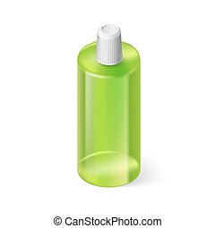 Shampoo Icon - Single Green Bottle of Shampoo on White