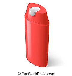 Shampoo Icon - Single Red Isometric Bottle of Shampoo on...