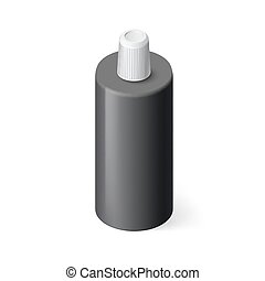 Shampoo Icon - Single Black Bottle of Shampoo in Isometric