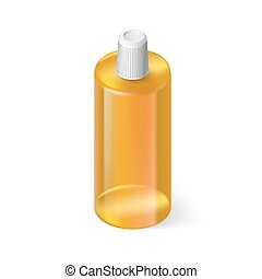 Shampoo Icon - Single Yellow Bottle of Shampoo on White...