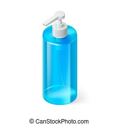 Shampoo Icon - Single Blue Bottle of Shampoo in Isometric...