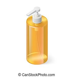 Shampoo Icon - Single Yellow Bottle of Shampoo in Isometric...